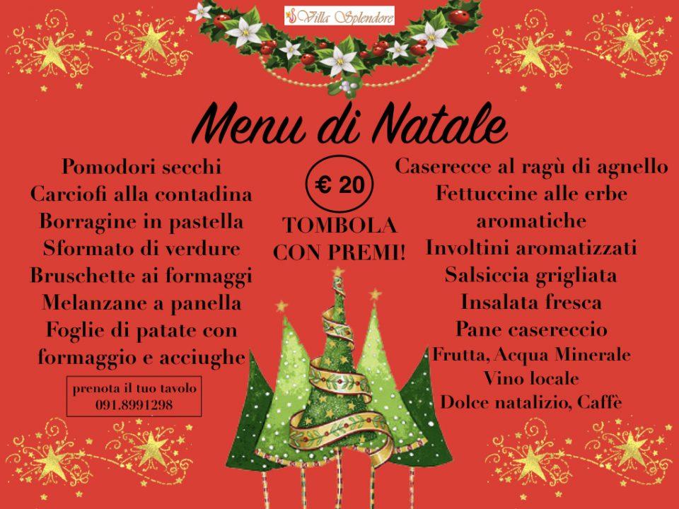 menù di Natale 2016 Villa Splendore
