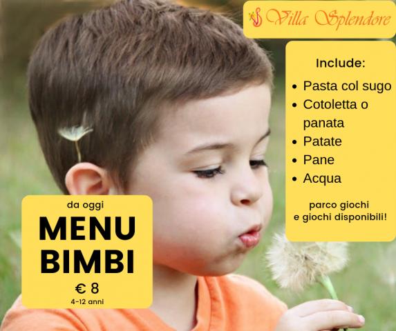 menu bimbi villa splendore